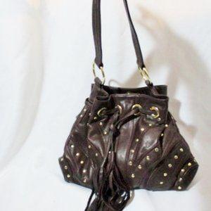 BULGA Leather Hobol satchl bag FRINGE TASSEL Purse